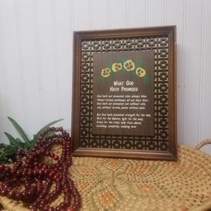 1970s Vintage Framed Poem What God Hath Promised